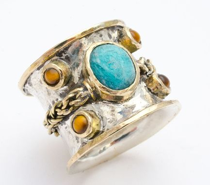 Custom Made 14k Gold And Sterling Silver Wedding Ring With Amazonite And Tiger's Eye