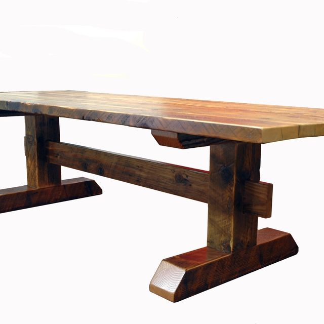Custom Reclaimed Timber-Frame Trestle Dining Table, Farm Table by ...