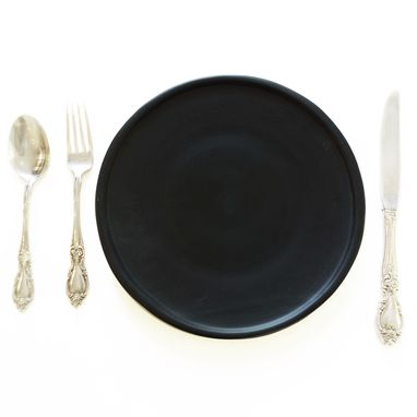"Custom Made Matte Porcelain Usa Made 9"" Dinner Plate- Black"