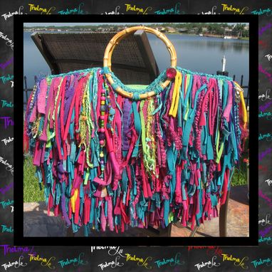 Custom Made Unique Fringe Handbag Custom Made One Of A Kind Funky,Jewels,Rhinestones,Upcycled