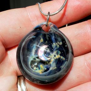 Hand blown glass pendants and necklaces custommade night sky opal moon glass blown pendant night sky boro glass necklace by breanna daughtridge aloadofball Images