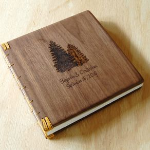 Engraved Wood Wedding Or Vacation Home Guest Book