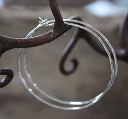 Custom Made Sterling Silver - Large Hammered Hoops - $30