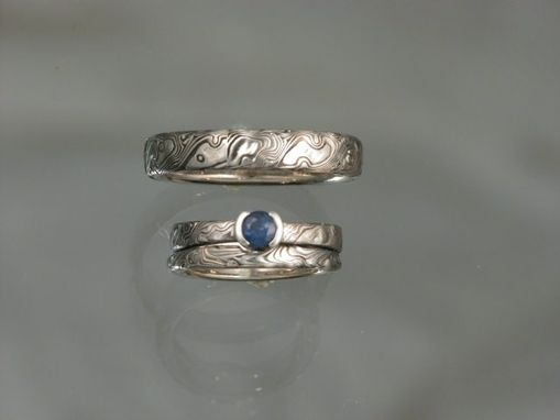 Custom Made 14k Palladium White Gold Layered With Sterling Silver Custom Made Wedding Set