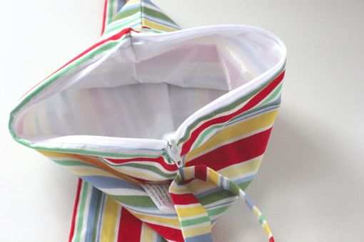 Custom Made Small Lay Flat Messy Bags (Wet Bags) - Retro Cha Cha Stripe