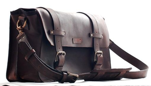 Custom Made Leather Computer Bag For Men - Xl Genuine Leather Bag - A Leather Shoulder Bag - 100 % Made In Usa