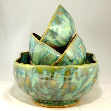 Custom Made Simple Curves Salad Bowl Set For Four In Turquoise Swirl