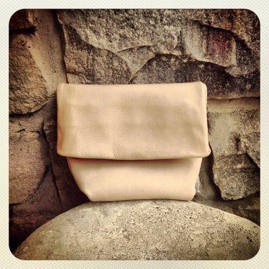 Custom Made Minimalist Leather Clutch // Foldover // Hand Stitched // Sculpted