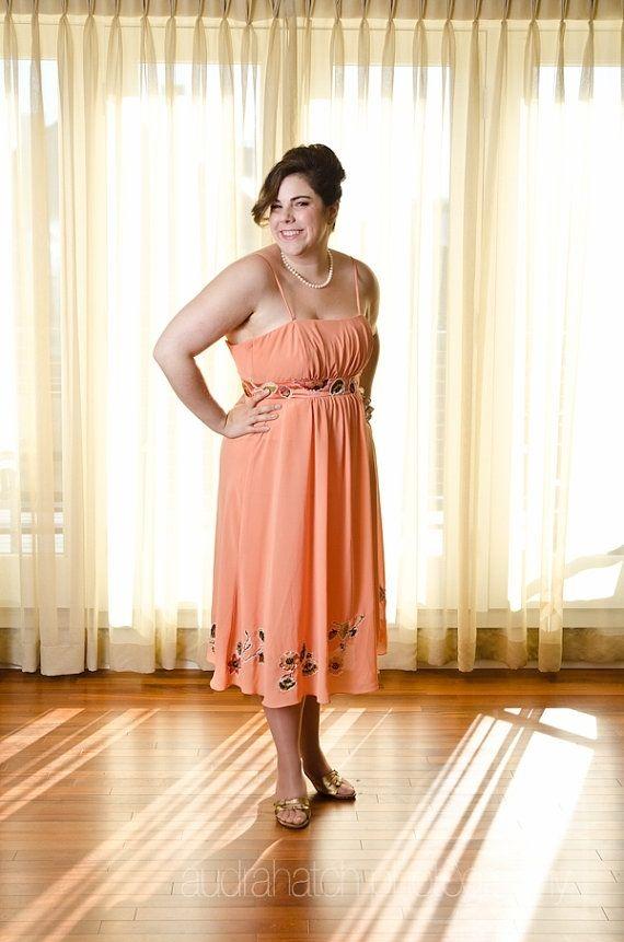 Custom Daisy - Upcycled Orange Floral Prom Dress Or Alternative ...
