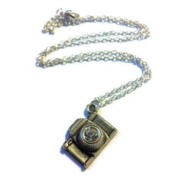 Custom Made Silver Crystal Camera Necklace