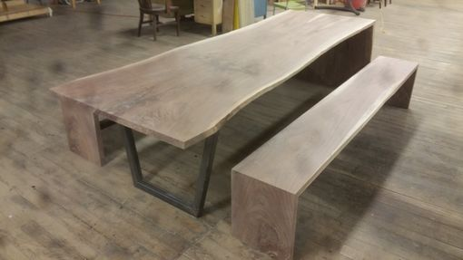 Custom Made Communal Table With Matching Benches