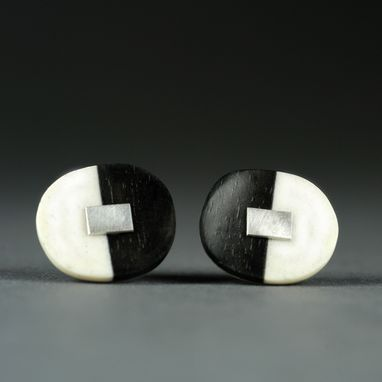 Custom Made Ebony, Bone & Sterling Silver Earrings