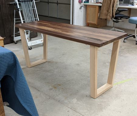 Custom Made Large Walnut And Maple Convertible Desk