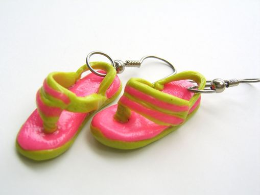 Custom Made Neon - Pink & Green Flip Flop Earrings - 100% Hand-Crafted In Polymer Clay