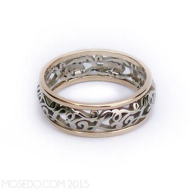 Custom Made Personalized Hidden Initials Filigree Wedding Band With Borders