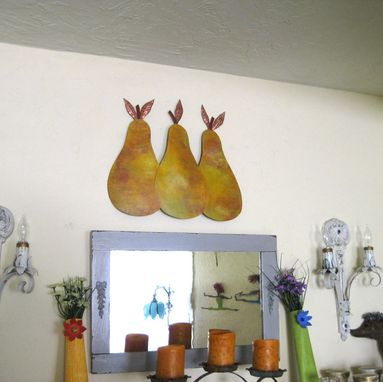 Custom Made Handmade Upcycled Metal Pear Trio Wall Art