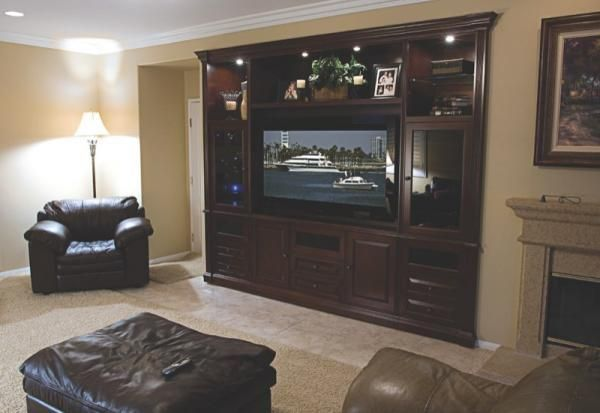 Hand crafted dark espresso custom built in entertainment center by diamond case designs inc for Built in designs living room