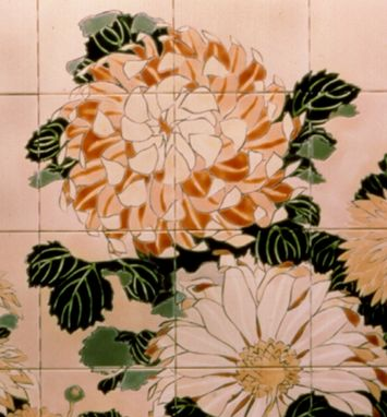 Custom Made Chrysanthemum Mural - Hand-Painted Tile