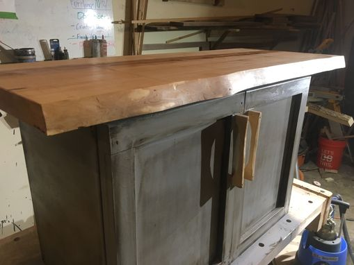 Custom Made Live Edge Maple Slab With Distressed Chalk Paint Cabinet Handmade Maple Pulls