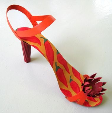"Custom Made Handmade Upcycled 3d Metal Shoe ""Red Hot Mama''"