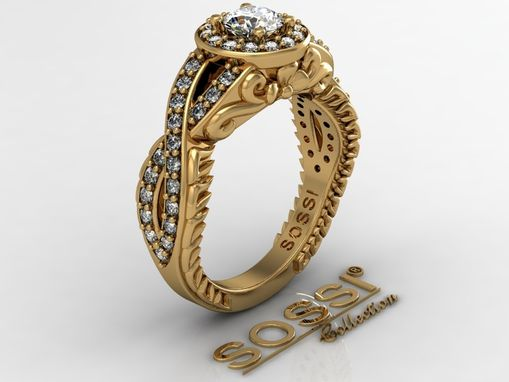 Custom Made 14 Kt Yellow Gold Diamond Engagement Ring