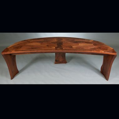 Custom Made Abstract Organic Expressionism In Furniture™  Walnut Coffee Table With Matching End Tables