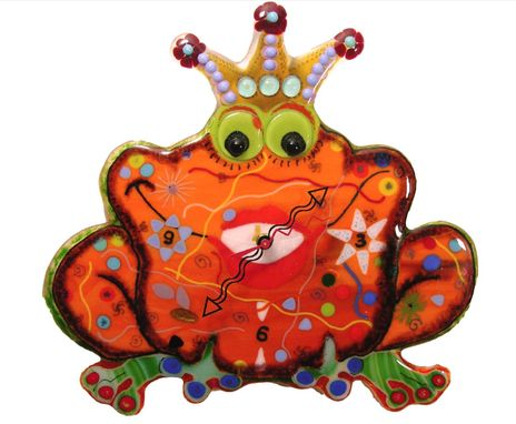 "Custom Made Decorative Fused Glass Wall Clock ""Princess Frog"""