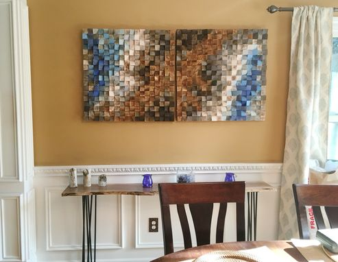Custom Made Wood Wall Art, Large Mosaic Art, Wood Sculpture