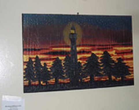 Custom Made Woodcarved, Handpainted Lighthouse Sunset Scene