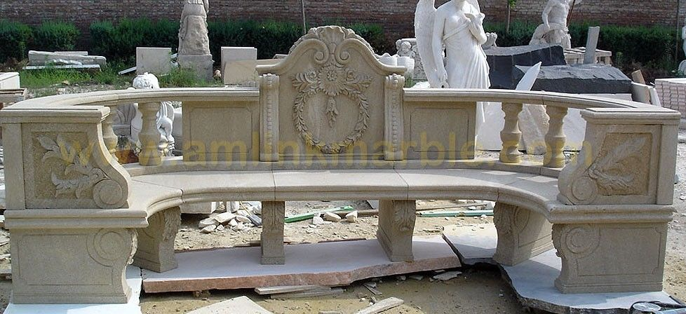 Carved Stone Bench : Hand crafted stone garden bench carved sandstone