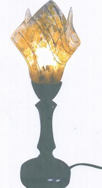 Custom Made Fused Glass Yellow And Clear Shade On Bronze Table Lamp