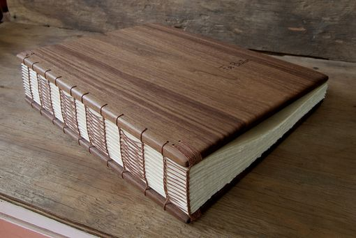 Custom Made Wedding Guest Book With Black Walnut Wood Covers