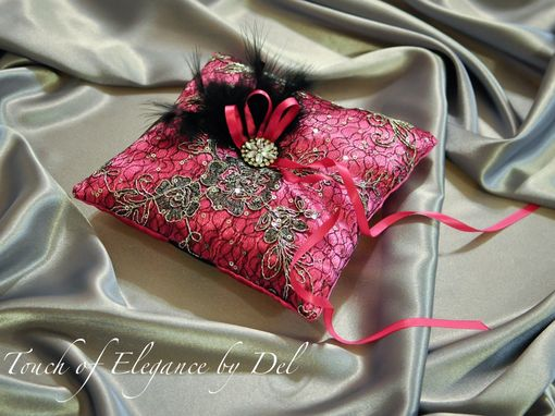 Custom Made Ring Bearer Pillow / Wedding Pillow - Hot Pink Satin Silk Black Alencon Lace  With Silver Roses