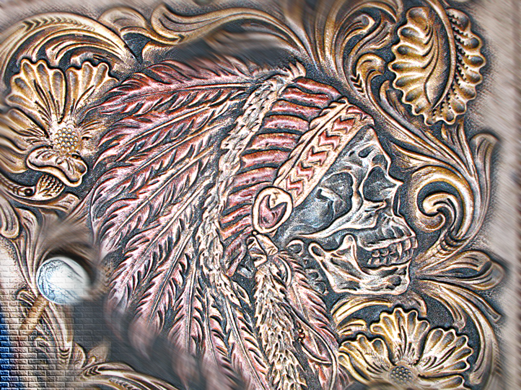 Custom hand tooled carved made leather biker