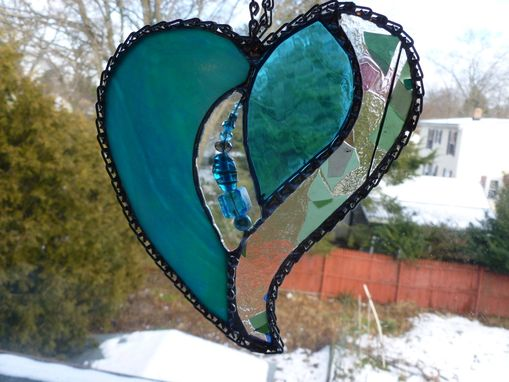 Custom Made Iridescent Teal And Turquoise Stained Glass Heart With Beads And Crystals