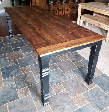 Custom Made Heart Pine Square Leg Farm Table