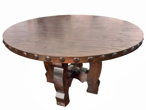 Custom Made Round Yugo Alder Rustic Dining Table