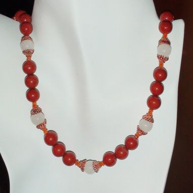 Custom Made Red Jasper, Snow Quartz, And Carnelian Necklace In Copper