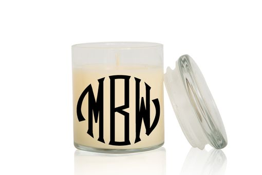 Custom Made Monogram Candle | Font: Seal Circle | Large Creme Brulee/Vanilla Scented Candle
