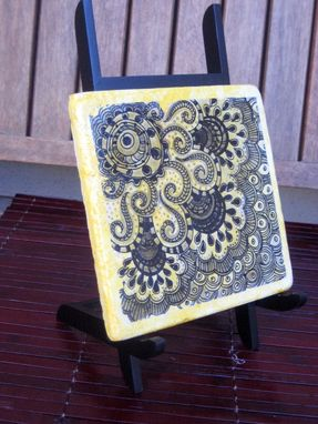 "Custom Made Decorative Stone Tile-6""X6"" Handmade Black Grey Yellow"