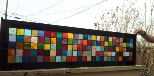 "Custom Made Stained Glass Panel -  ""Color Mix"" (P-32)"