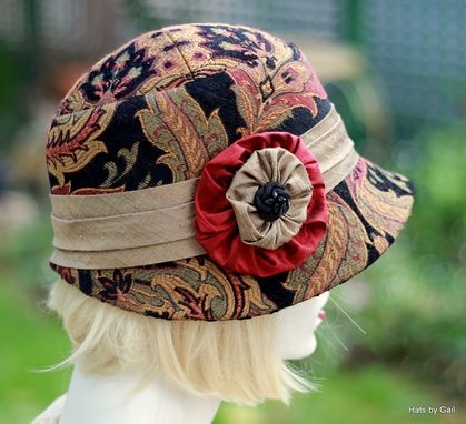 Custom Made Fall Winter Cloche Hat In Bohemian Red Paisley Print Fabric