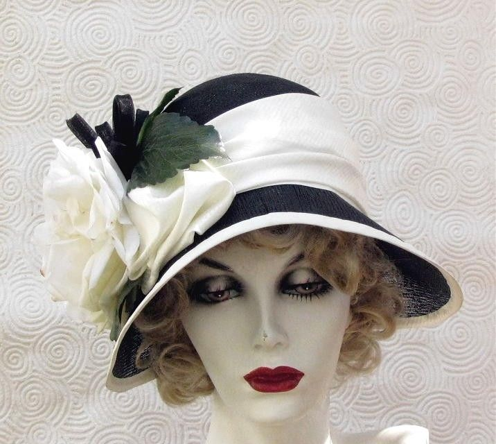 Custom Made Vintage 20s Black And White Hat Cloche Wide Brim Large Flower 7bf34ba4f30