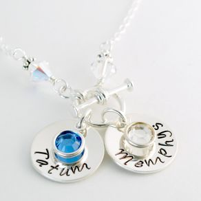 Custom Mom Necklace With Two Hand Stamped Sterling Silver Name Charms And Birth Crystals By Allison