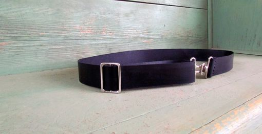Custom Made Custom Black Leather Belt Adjustable With Silver Tone Hardware