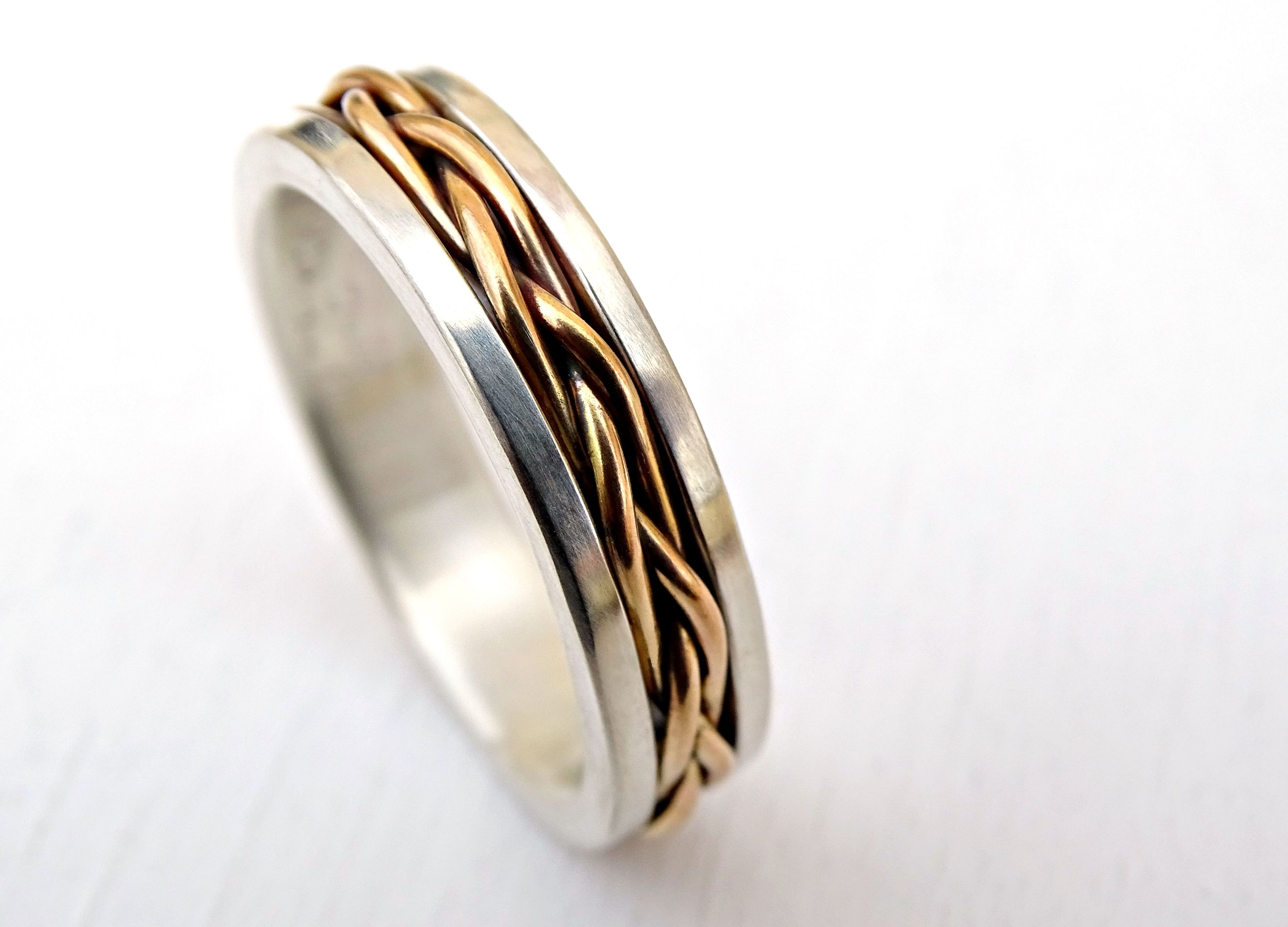 Custom Made Celtic Wedding Band Men Gold Braided Ring Viking Mens Promise