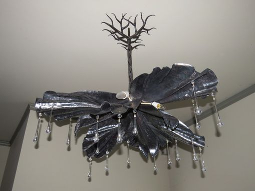 Custom Made Chandelier, Forged Steel Iris Form