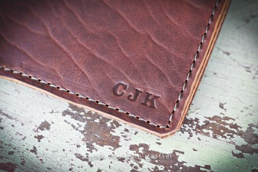 Custom Made Bison Leather Custom Book Or Bible Cover With Initials Or Name In Right Lower Corner