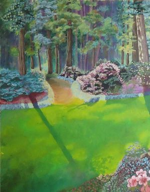 Custom Made Original Acrylic Landscape On Canvas, Art For Sale, Smithsonian Botanical Gardens.