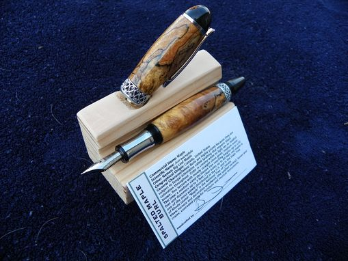 Custom Made Fountain Pen In Beautiful Chrome And Spalted Maple Burl With 3-D Sculpted Band